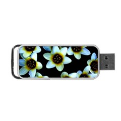 Light Blue Flowers On A Black Background Portable Usb Flash (two Sides) by Costasonlineshop