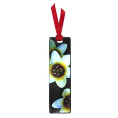 Light Blue Flowers On A Black Background Small Book Marks by Costasonlineshop