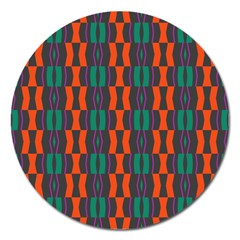 Green Orange Shapes Pattern magnet 5  (round) by LalyLauraFLM