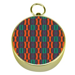 Green orange shapes pattern 			Gold Compass by LalyLauraFLM
