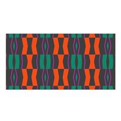 Green Orange Shapes Pattern Satin Shawl by LalyLauraFLM