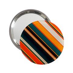 Diagonal Stripes In Retro Colors 2 25  Handbag Mirror by LalyLauraFLM