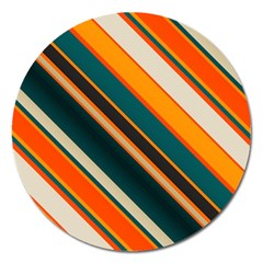 Diagonal Stripes In Retro Colors 			magnet 5  (round) by LalyLauraFLM