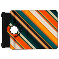Diagonal Stripes In Retro Colors 			kindle Fire Hd Flip 360 Case by LalyLauraFLM