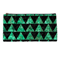 Triangle2 Black Marble & Green Marble Pencil Case by trendistuff