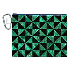 Triangle1 Black Marble & Green Marble Canvas Cosmetic Bag (xxl) by trendistuff