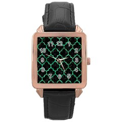 Tile1 Black Marble & Green Marble (r) Rose Gold Leather Watch  by trendistuff