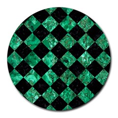 Square2 Black Marble & Green Marble Round Mousepad by trendistuff