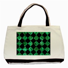 Square2 Black Marble & Green Marble Basic Tote Bag by trendistuff