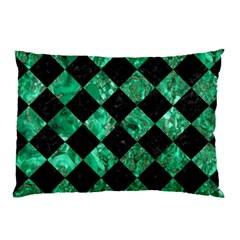 Square2 Black Marble & Green Marble Pillow Case by trendistuff