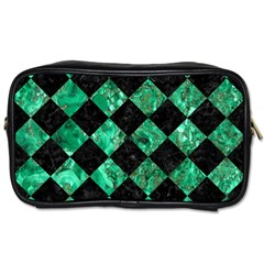 Square2 Black Marble & Green Marble Toiletries Bag (one Side) by trendistuff