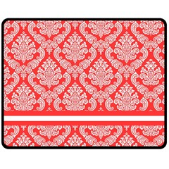 Salmon Damask Fleece Blanket (medium)  by SalonOfArtDesigns