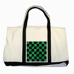 Square1 Black Marble & Green Marble Two Tone Tote Bag by trendistuff