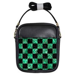 Square1 Black Marble & Green Marble Girls Sling Bag by trendistuff