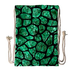 Skin1 Black Marble & Green Marble (r) Drawstring Bag (large) by trendistuff