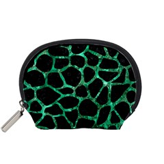 Skin1 Black Marble & Green Marble Accessory Pouch (small) by trendistuff