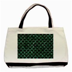 Scales3 Black Marble & Green Marble (r) Basic Tote Bag by trendistuff