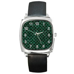 Scales2 Black Marble & Green Marble (r) Square Metal Watch by trendistuff