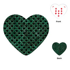 Scales2 Black Marble & Green Marble (r) Playing Cards (heart) by trendistuff