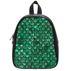 Scales2 Black Marble & Green Marble School Bag (small) by trendistuff