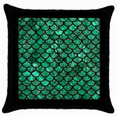 Scales1 Black Marble & Green Marble Throw Pillow Case (black) by trendistuff