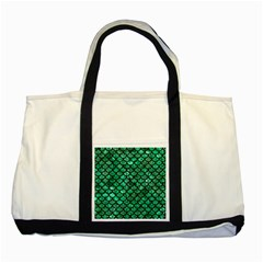 Scales1 Black Marble & Green Marble Two Tone Tote Bag by trendistuff