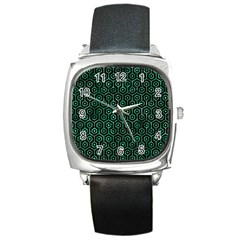 Hexagon1 Black Marble & Green Marble (r) Square Metal Watch by trendistuff