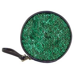 Hexagon1 Black Marble & Green Marble Classic 20 Cd Wallet by trendistuff