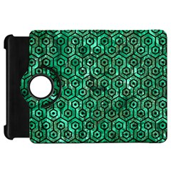 Hexagon1 Black Marble & Green Marble Kindle Fire Hd Flip 360 Case by trendistuff