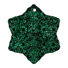 Damask2 Black Marble & Green Marble (r) Snowflake Ornament (two Sides) by trendistuff