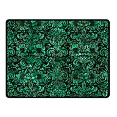 Damask2 Black Marble & Green Marble (r) Double Sided Fleece Blanket (small) by trendistuff