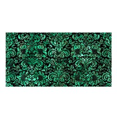 Damask2 Black Marble & Green Marble (r) Satin Shawl by trendistuff