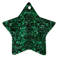 Damask2 Black Marble & Green Marble Ornament (star) by trendistuff