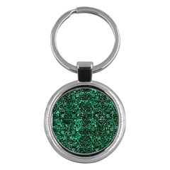 Damask2 Black Marble & Green Marble Key Chain (round) by trendistuff