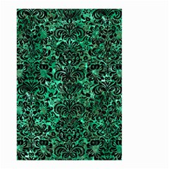 Damask2 Black Marble & Green Marble Small Garden Flag (two Sides) by trendistuff