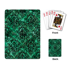 Damask1 Black Marble & Green Marble (r) Playing Cards Single Design by trendistuff