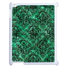 Damask1 Black Marble & Green Marble Apple Ipad 2 Case (white) by trendistuff