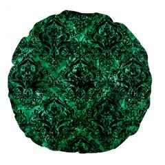 Damask1 Black Marble & Green Marble Large 18  Premium Round Cushion  by trendistuff