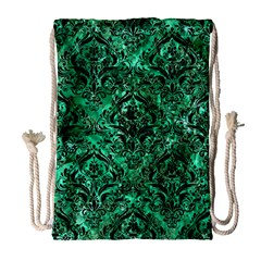 Damask1 Black Marble & Green Marble Drawstring Bag (large) by trendistuff
