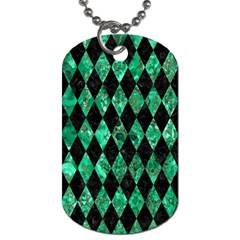 Diamond1 Black Marble & Green Marble Dog Tag (one Side) by trendistuff