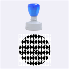 Diamond1 Black Marble & Green Marble Rubber Stamp Round (medium) by trendistuff