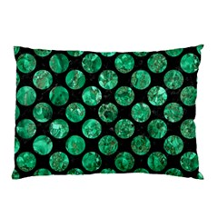 Circles2 Black Marble & Green Marble (r) Pillow Case by trendistuff