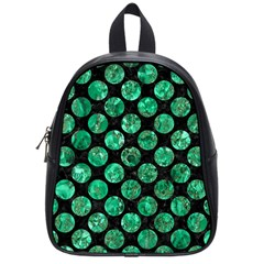 Circles2 Black Marble & Green Marble (r) School Bag (small) by trendistuff