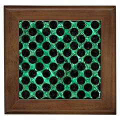 Circles2 Black Marble & Green Marble Framed Tile by trendistuff
