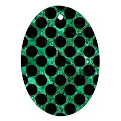 Circles2 Black Marble & Green Marble Ornament (oval) by trendistuff