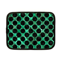 Circles2 Black Marble & Green Marble Netbook Case (small) by trendistuff