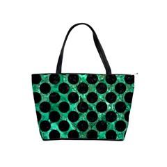 Circles2 Black Marble & Green Marble Classic Shoulder Handbag by trendistuff