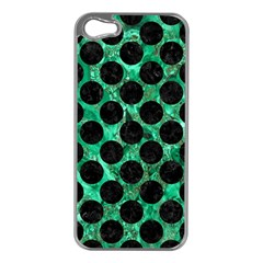 Circles2 Black Marble & Green Marble Apple Iphone 5 Case (silver) by trendistuff