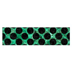 Circles2 Black Marble & Green Marble Satin Scarf (oblong) by trendistuff