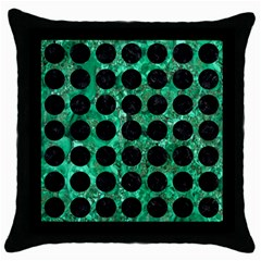 Circles1 Black Marble & Green Marble Throw Pillow Case (black) by trendistuff